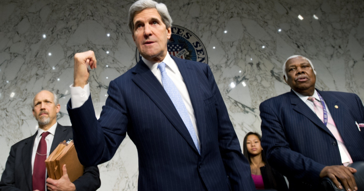 Senator John Kerry on Dec. 20, 2012 in Washington, D.C.</p>