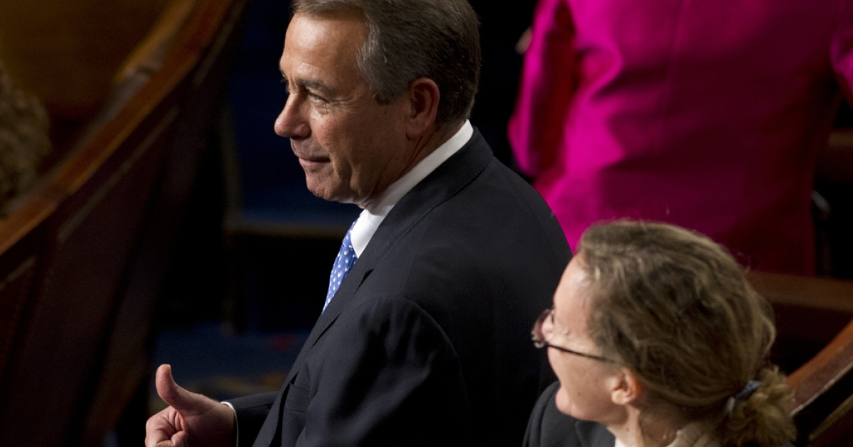 Rep. John Boehner of Ohio gives a thumbs-up as he walks on the floor of the House of Representatives on Jan. 3, 2013, during the opening session of the 113th US Congress.</p>