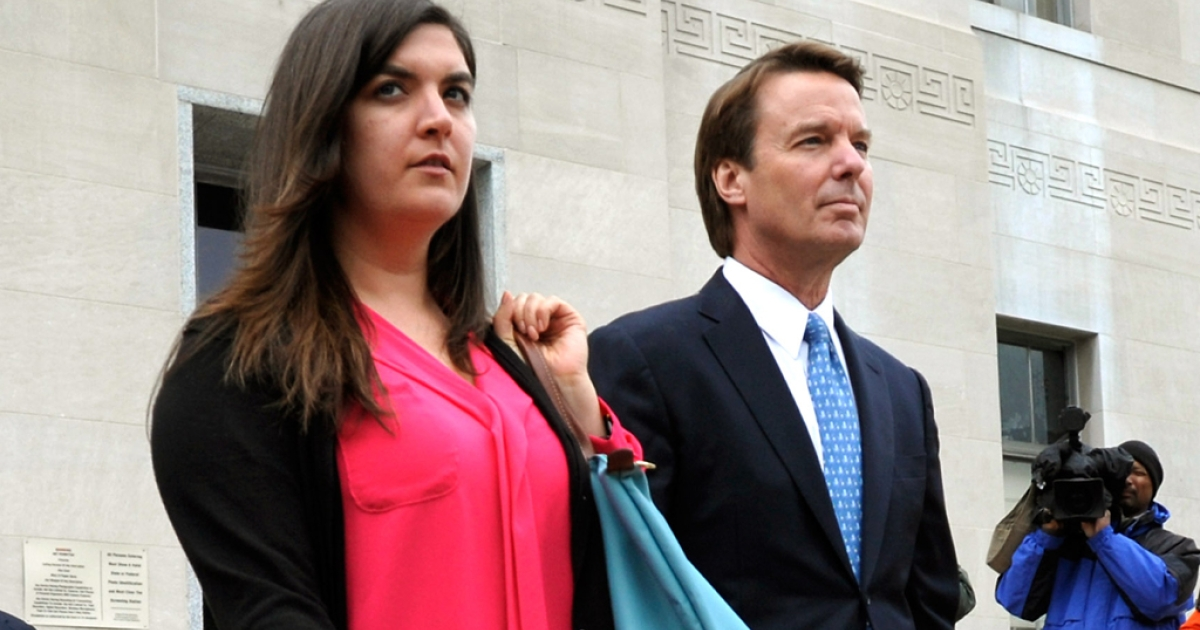 John Edwards leaves the Federal courthouse with his daughter Cate Edwards Upham after Edwards' first day of trial on April 23, 2012 in Greensboro, North Carolina. The once Democratic presidential candidate, Edwards plead not guilty to six counts of campaign finance violations. If sentenced he could face a maximum of 30 years in jail and $1.5 million in fines.</p>