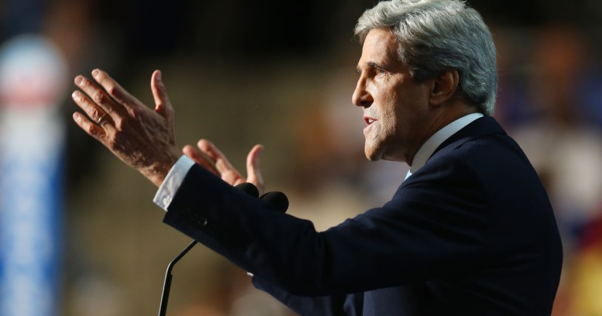 John Kerry addresses the crowd during the final day of the Democratic National Convention at Time Warner Cable Arena on September 6, 2012 in Charlotte, North Carolina.</p>