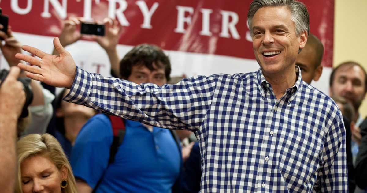 COLUMBIA, SC - JANUARY 11:  Republican presidential candidate, former Utah Gov. Jon Huntsman attends a town hall meeting in the Moore School of Business at the University of South Carolina on January 11, 2012 in Columbia, South Carolina. Huntsman, who skipped the Iowa caucuses to campaign in New Hampshire, finished third behind former Massachusetts Gov. Mitt Romney and U.S. Rep. Ron Paul (R-TX) in the first in the nation primary election.  (Photo by Richard Ellis/Getty Images)</p>