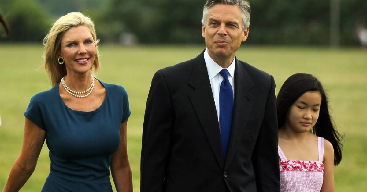 Republican Jon Huntsman walks with his wife Mary Kaye and daughter on his way to a press conference to announce his bid for the presidency.</p>