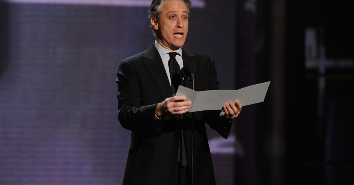 Jon Stewart speaks onstage at the First Annual Comedy Awards at Hammerstein Ballroom on March 26, 2011 in New York City.</p>