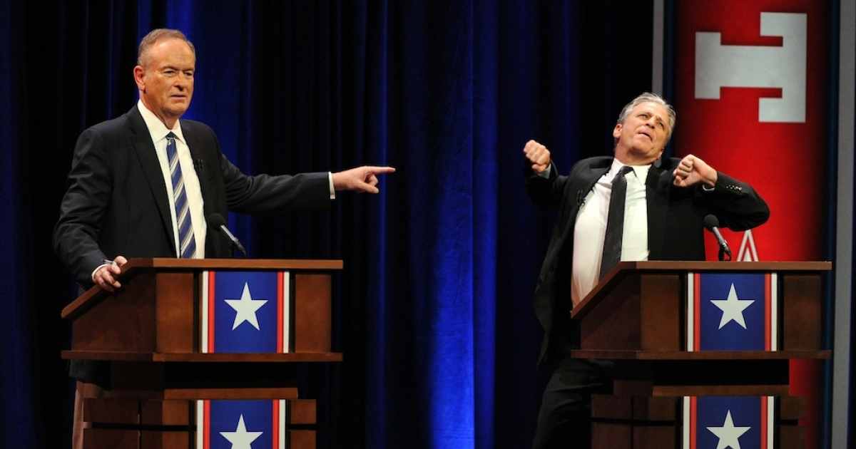 Bill O'Reilly and Jon Stewart onstage at O'Reilly Vs. Stewart 2012: The Rumble In The Air-Conditioned Auditorium at Lisner Auditorium at George Washington University on October 6, 2012 in Washington, DC. (EXCLUSIVE COVERAGE)</p>