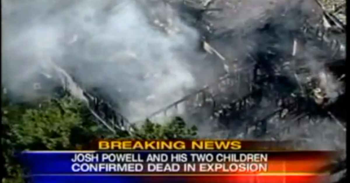 A YouTube screenshot of a report on the explosion of Josh Powell's home in Puyallup, Washington.</p>