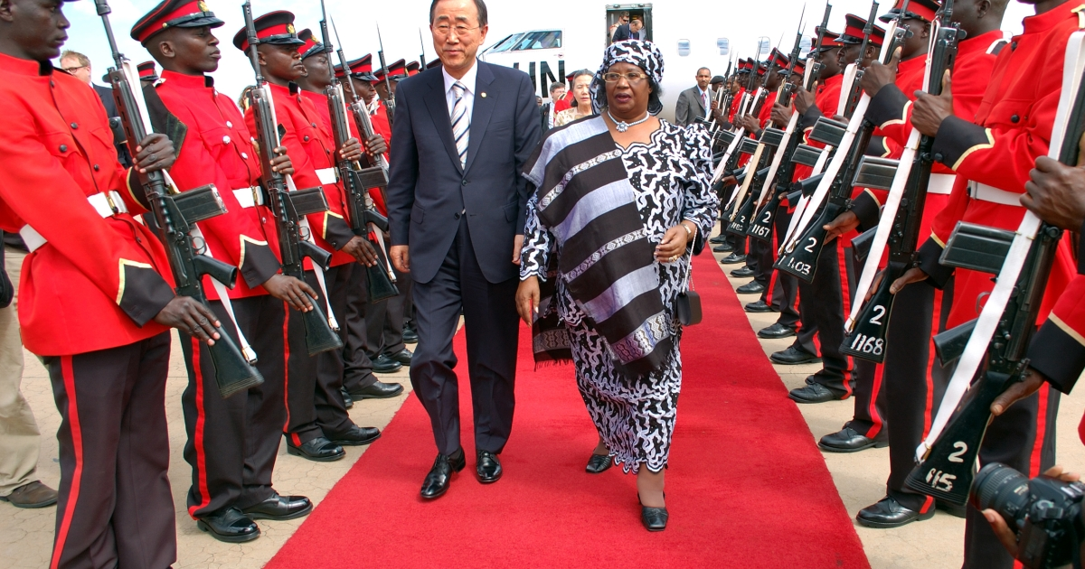 UN Secretary-General Ban Ki-moon and Malawi's Vice President Joyce Banda inspect an honor guard on Ban's arrival at the airport in Lilongwe in May, 2010.</p>