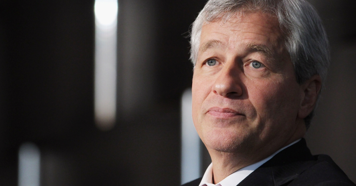 JPMorgan Chase &amp; Co. chairman and CEO Jamie Dimon looks on while speaking at Simon Graduate School of Business at the University of Rochester's New York City Conference on May 3, 2012 in New York City. JP Morgan Chase agreed to pay $920 million in fines over the bad bet by the trader known as the 'London Whale'.</p>