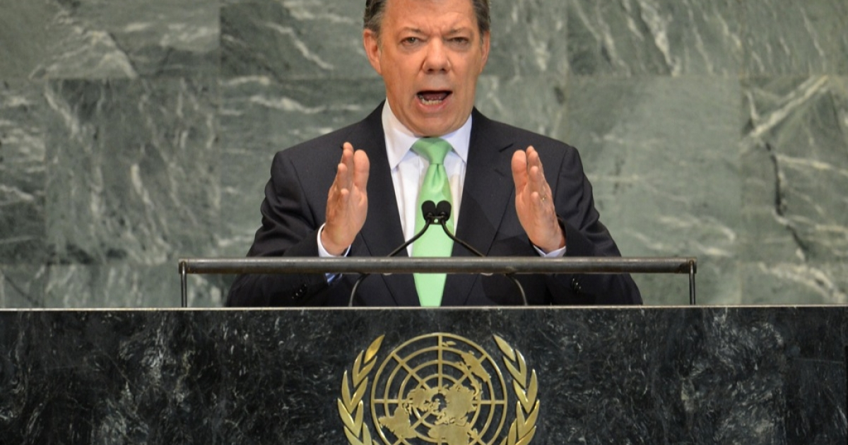 Juan Manuel Santos Calderón, President of Colombia, speaks during the 67th session of the United Nations General Assembly September 26, 2012 at UN headquarters in New York</p>