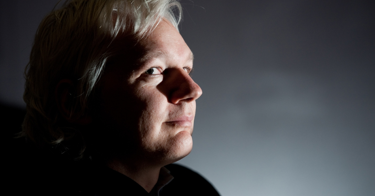 A play about the life of WikiLeaks founder Julian Assange, pictured here at a press conference at City University London, premieres in London in January. (LEON NEAL/AFP/Getty Images)</p>