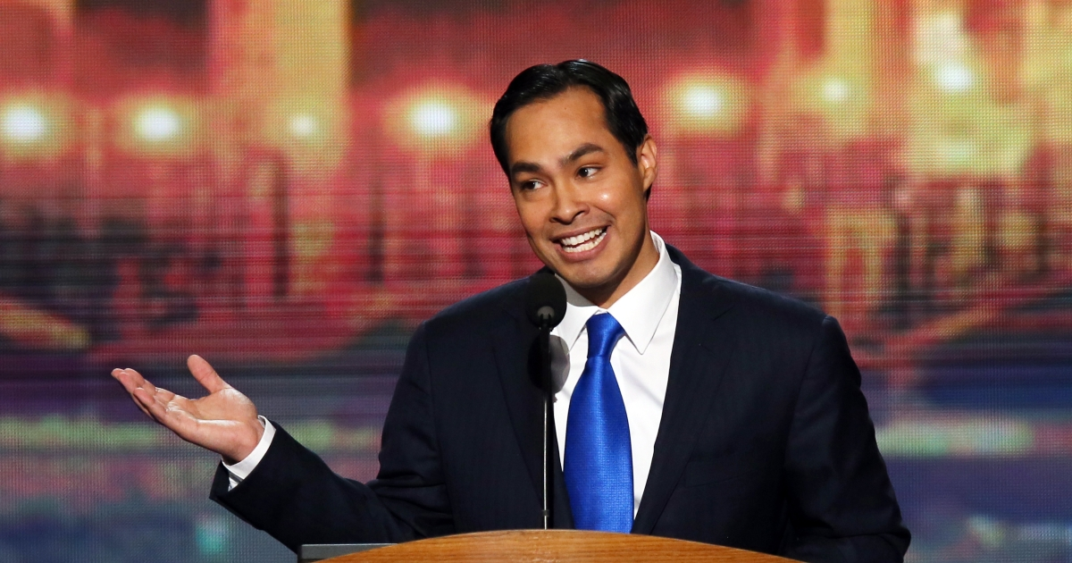 Julian Castro, mayor of San Antonio, Texas, gives the keynote speech Tuesday night at the Democratic National Convention in Charlotte, NC.</p>