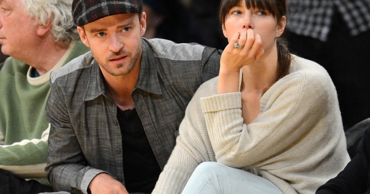 Justin Timberlake and Jessica Biel courtside in Game Seven of the Western Conference Quarterfinals in the 2012 NBA Playoffs on May 12, 2012 at Staples Center in Los Angeles, California.</p>
