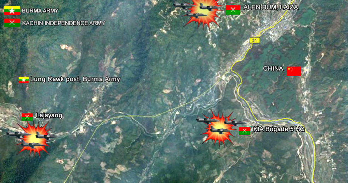 Unverified locations of Myanmar military air strikes around the nation's northern border with China. The image, created by the Kachin News Group, details alleged positions of government strikes against the Kachin ethnic group's guerrilla army, known as the Kachin Independence Army. (Image created by Kachin News Group)</p>