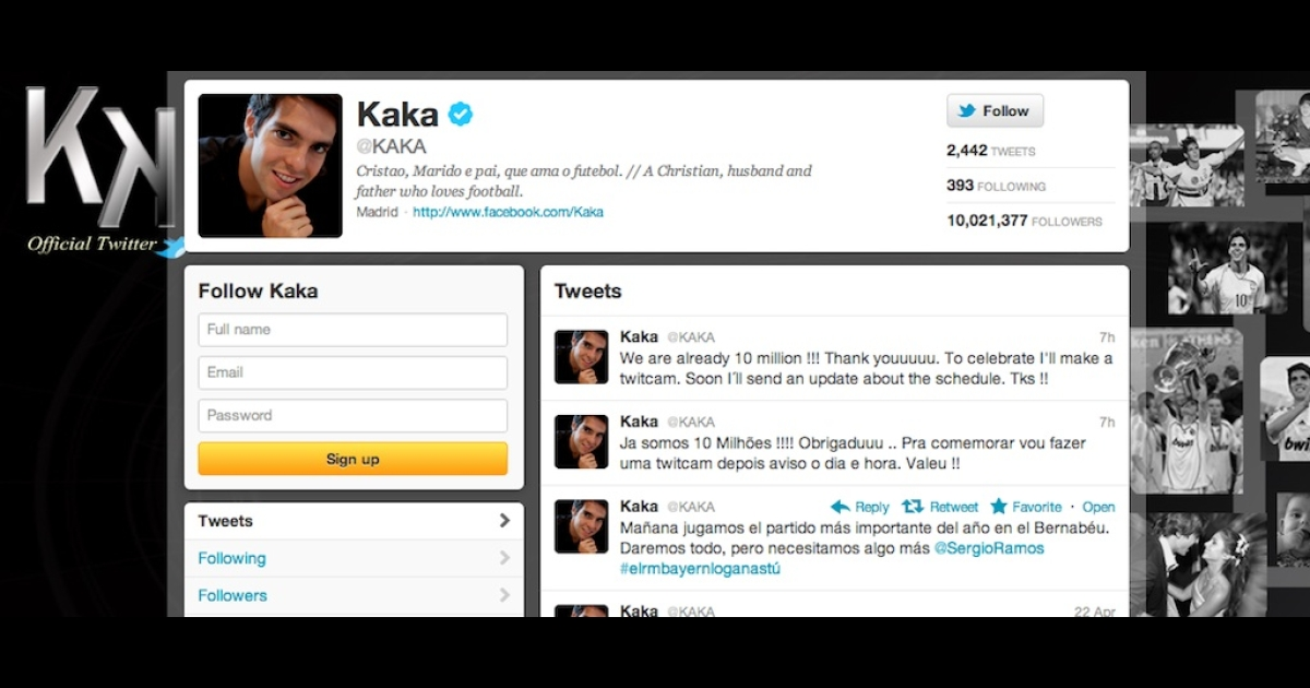 Brazilian soccer star Kaká is now Twitter's most popular athlete, with more than 10 million followers.</p>