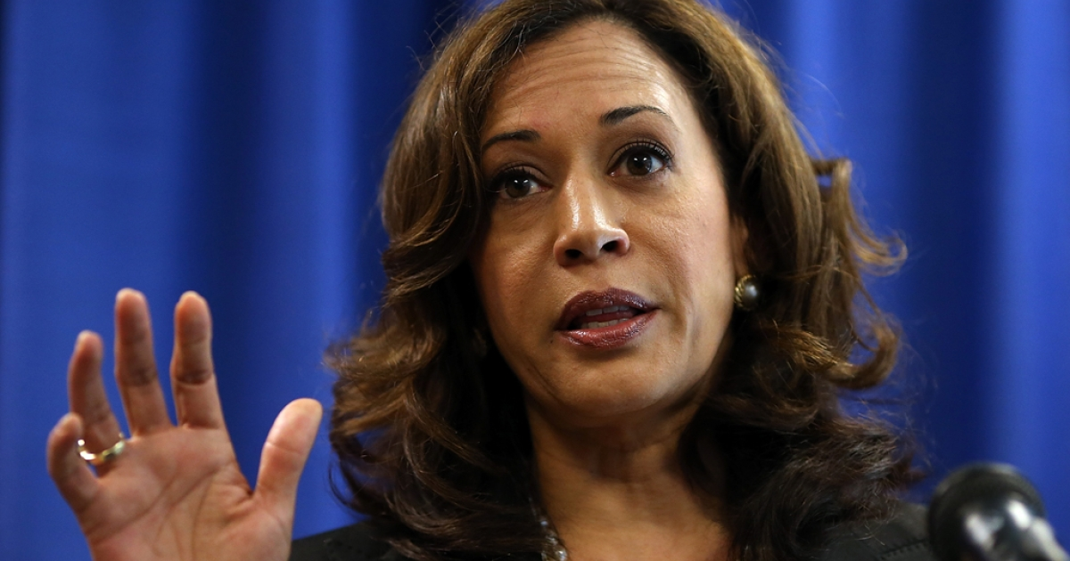 California Attorney General Kamala Harris speaks to reporters after California Governor Jerry Brown signed the California Homeowner Bill of Rights (AB 278 and SB 900) on July 11, 2012 in San Francisco, California.</p>