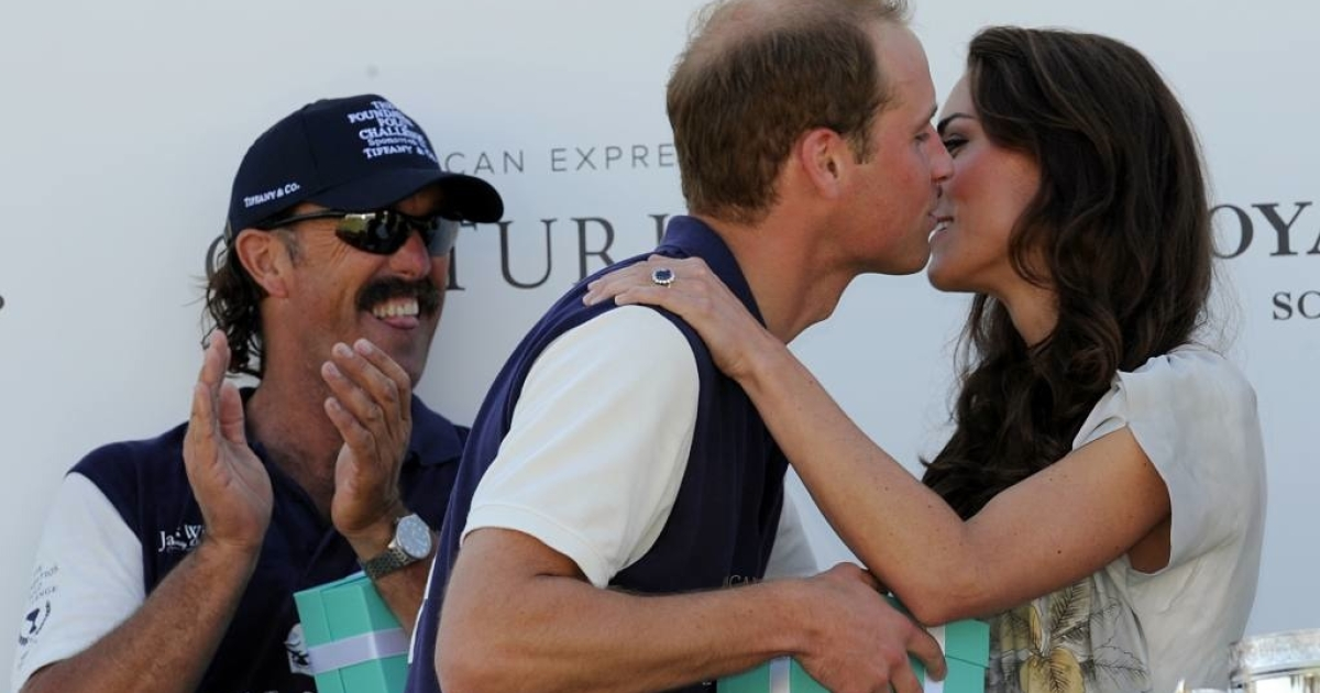 Kate was so proud of her husband's team winning the polo challenge that she kissed him on stage, which is rare to see from the private newlyweds.  Meanwhile, Will's teammate and fellow champion, Santi Trotz, teased the couple by sticking out his tongue.</p>