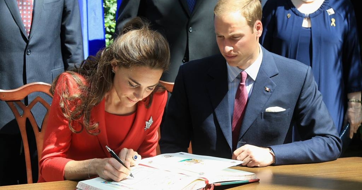 Catherine, Duchess of Cambridge, and Prince William, Duke of Cambridge, signed the guestbook during a reception at the Calgary Zoo on July 8, 2011 in Calgary, Canada.</p>