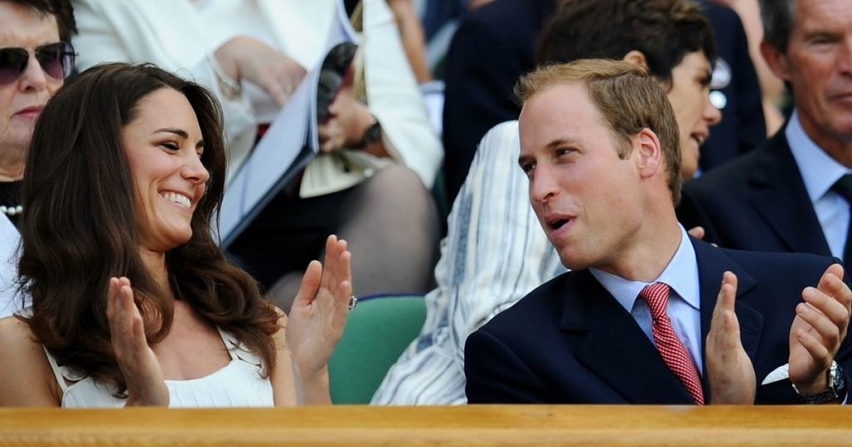 Kate and Will enjoy themselves watching the fourth round match between Andy Murray and Richard Gasquet on day seven of the Wimbledon Lawn Tennis Championships on June 27, 2011.</p>