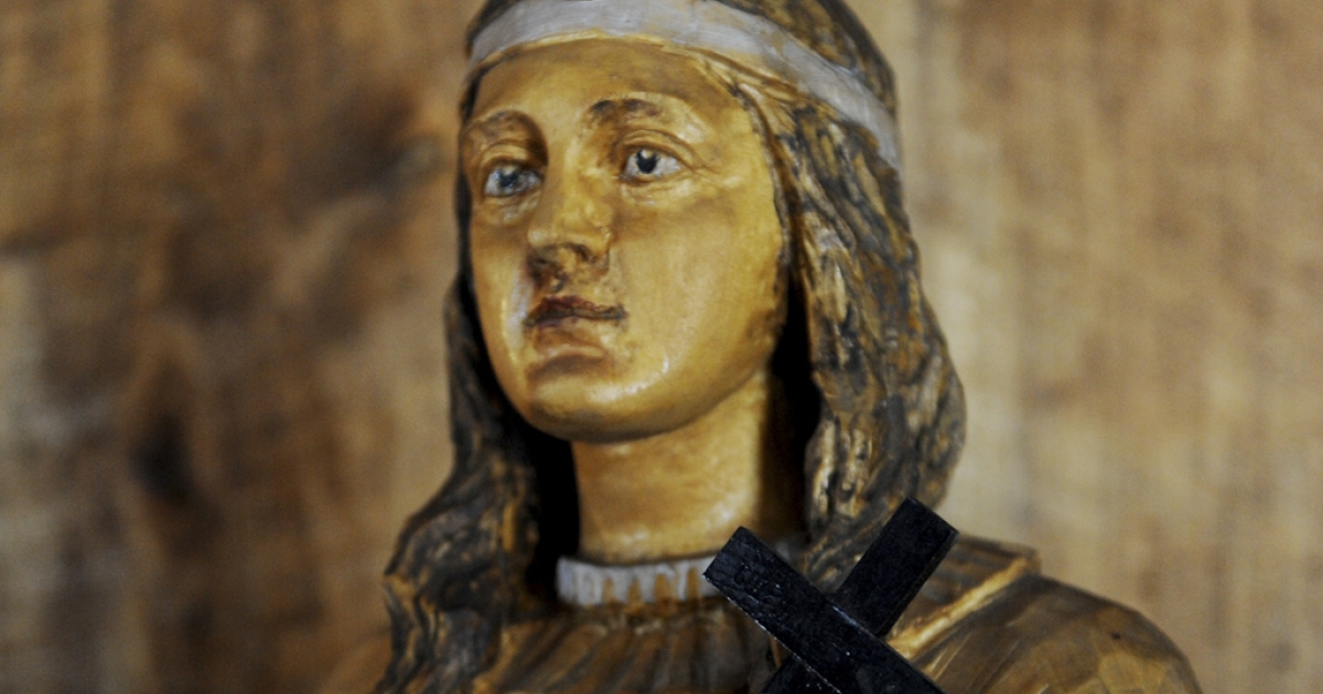 A wooden statue of Kateri Tekakwitha, a 17th century Mohawk woman whom the Vatican will canonize this Sunday, October 21, 2012, seen in St. Peter's Chapel at the National Kateri Shrine in Fonda, New York. Kateri will become the first Native American saint in the Catholic church.</p>