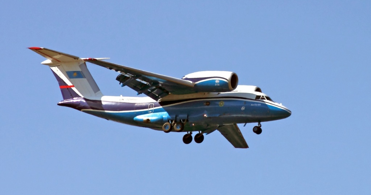A picture taken on Sept. 24, 2011, shows an An-72 military transport jet of the Kazakhstan's federal border service descending at Almaty airport.</p>