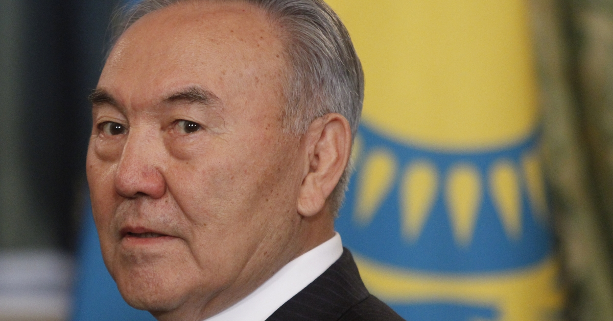 Kazakhstan's President Nursultan Nazarbayev attends a meeting at the Moscow Kremlin on Dec. 19, 2011.</p>
