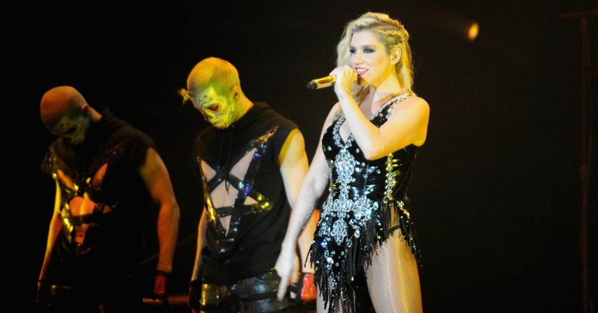 Ke$ha performs onstage during Power 96.1's Jingle Ball 2012 at the Philips Arena on December 12, 2012 in Atlanta.</p>