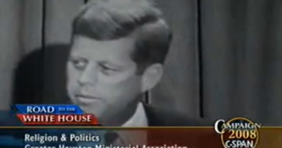 Then Sen. John F. Kennedy's 1960 speech about separating church and state almost made Republican presidential candidate Rick Santorum
