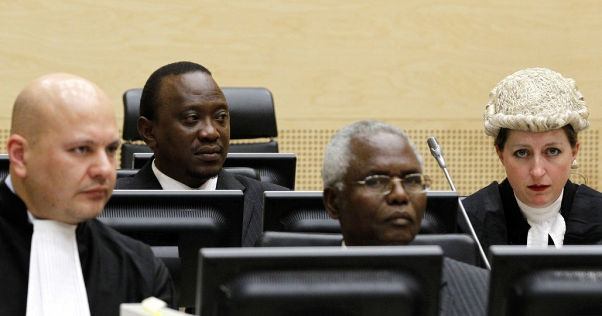 Kenyan Deputy Prime Minister and Finance Minister Uhuru Kenyatta (2ndL), and Cabinet secretary Francis Muthaura (2ndR) attend a hearing, at the International Criminal Court in The Hague, on April 8, 2011.</p>