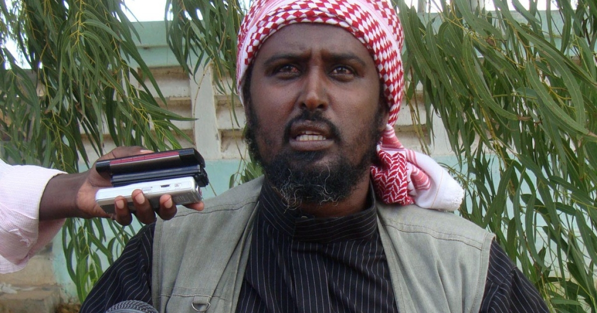 Islamist radical group Al Shabaab spokesman Ali Mohamud Rage speaks to the press near Afgoye, Somalia, on October 17, 2011. Somalia's Al Qaeda-linked Islamist rebels Monday vowed reprisals inside Kenya after Kenyan troops pushed into the south of the country following a spate of kidnappings of foreigners. 'The Kenyan forces have crossed about 60 miles (100 kilometers) deep into Somalia and in some cases their military aircraft have bombed inside Somalia. If the Kenyans continue this way, they will feel the consequences back home, warned Shabaab spokesman Sheikh Ali Mohamud Rage.</p>