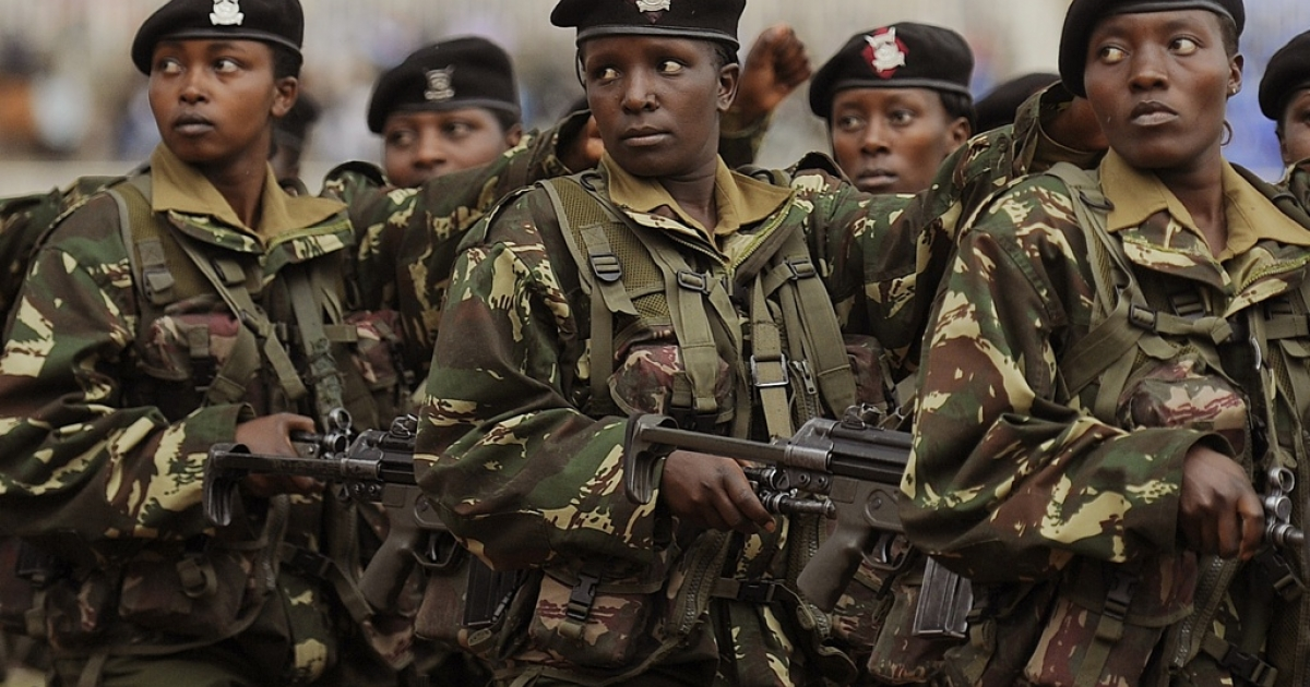 Kenya is sending troops into Somalia to pursue the Islamic extremist rebels. Troops are also patrolling Kenya against retaliation terror attacks. Here women in Kenya's armed forces march during the Heroes Day celebrations in Nairobi on October 20, 2011.</p>