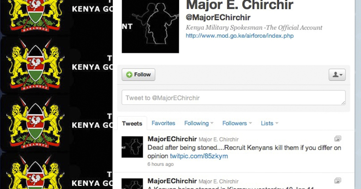 Kenya military spokesman Major E. Chirchir posted graphic photos on his Twitter account that he said were of a Kenyan being stoned by Al Shabaab militants in Somalia.</p>