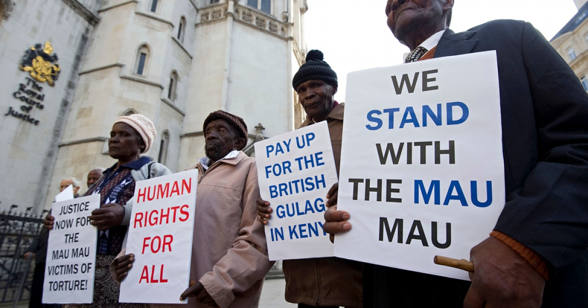 Kenyan nationals, from right,  Wambugu wa Nyingi, Ndiku Mutua, Paulo Nzili and Jane Muthoni Mara, (L) outside the High Court in central London, on April 7, 2011. The four elderly Kenyans have won the right to sue the British government for brutality they claim they suffered at the hands of the British army during the 1950s Mau Mau uprising. They are hoping their cases, which include castration, torture, sexual abuse, forced labor and beatings, will secure a statement of regret over Britain's role in the Kenya Emergency, and a victims' welfare fund.</p>