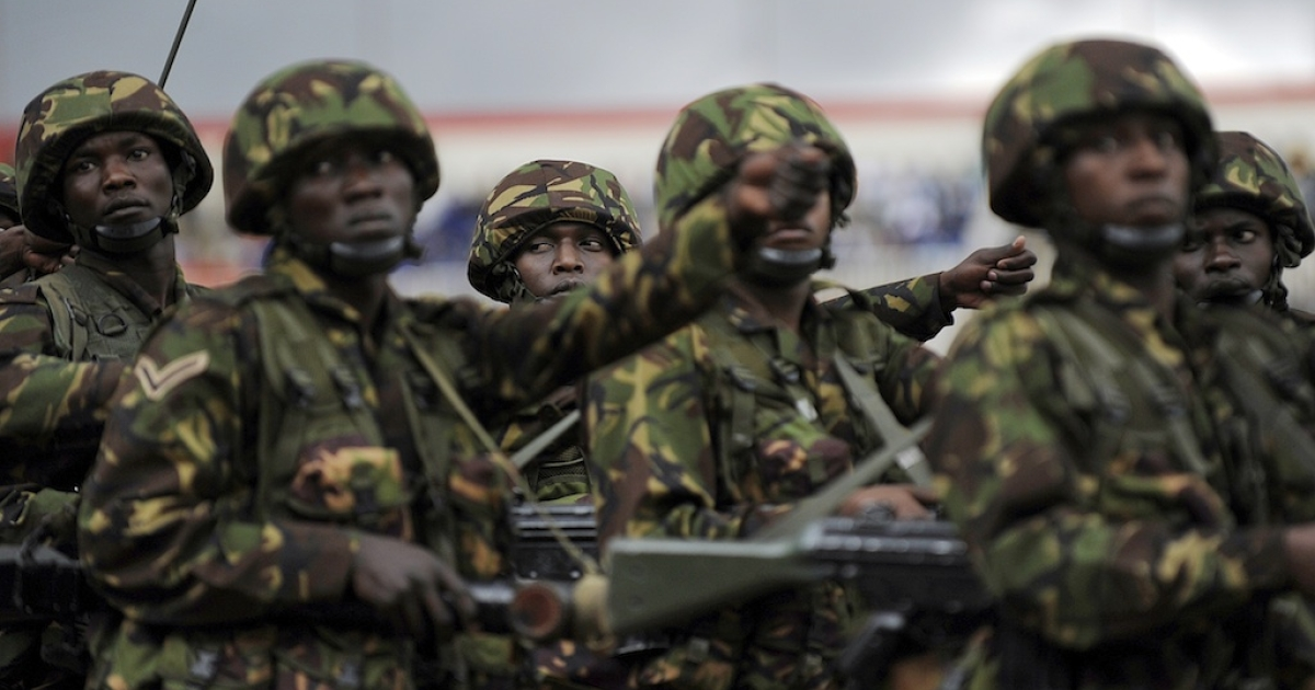 Western military forces have joined the fight against Al Shabaab in Somalia, according to Kenyan officials. In this photo Kenyan troops march during