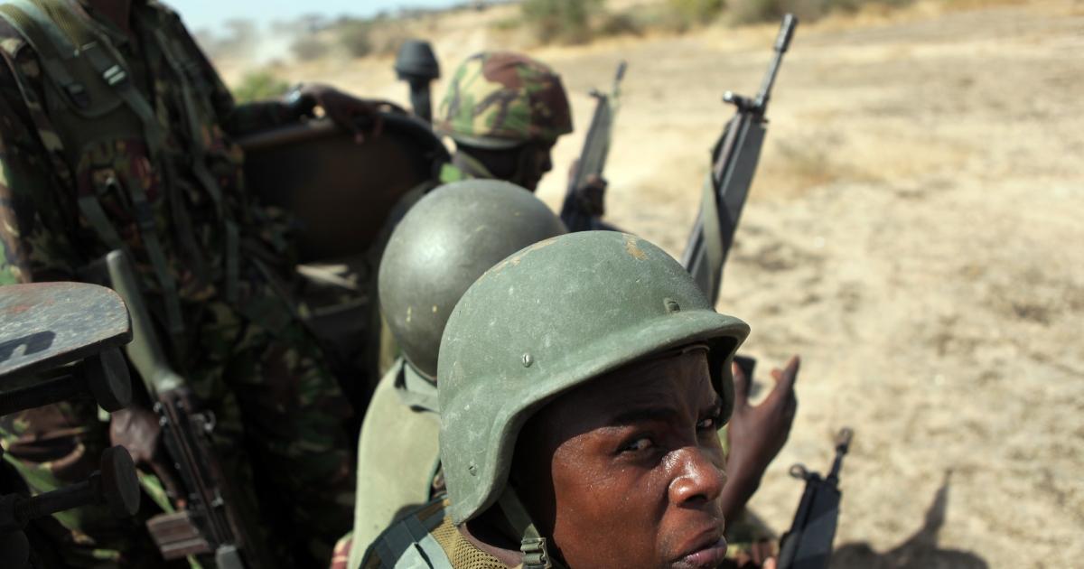 Kenyan soldiers patrol in southern Somalia.</p>