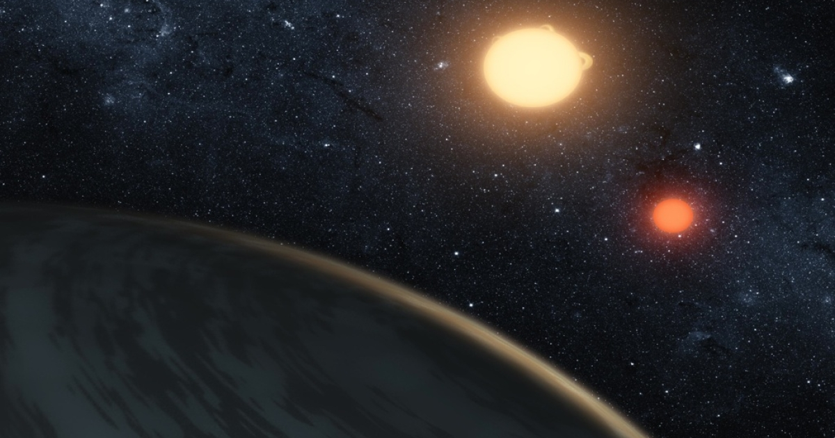 In this digital illustration released on Sept. 15, 2011, by NASA, the newly-discovered gaseous planet Kepler-16b orbits it's two stars. NASA's Kepler Mission discovered the world orbiting two stars..</p>