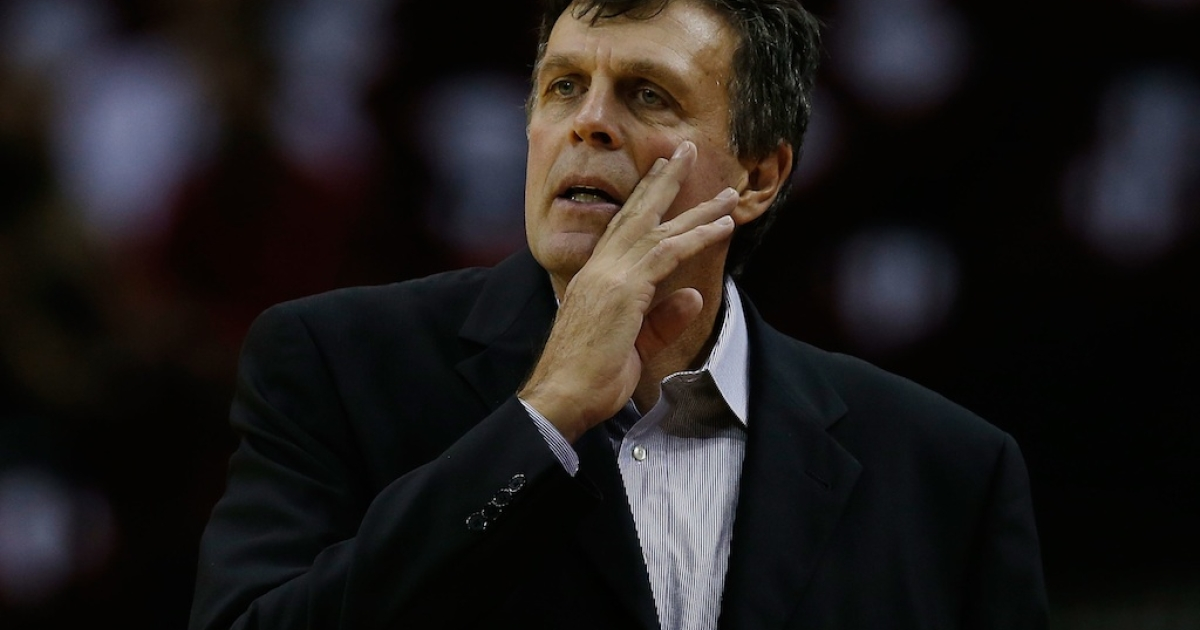 Houston Rockets head coach Kevin McHale watches the game with the New Orleans Hornets at the Toyota Center on October 12, 2012 in Houston, Texas.</p>