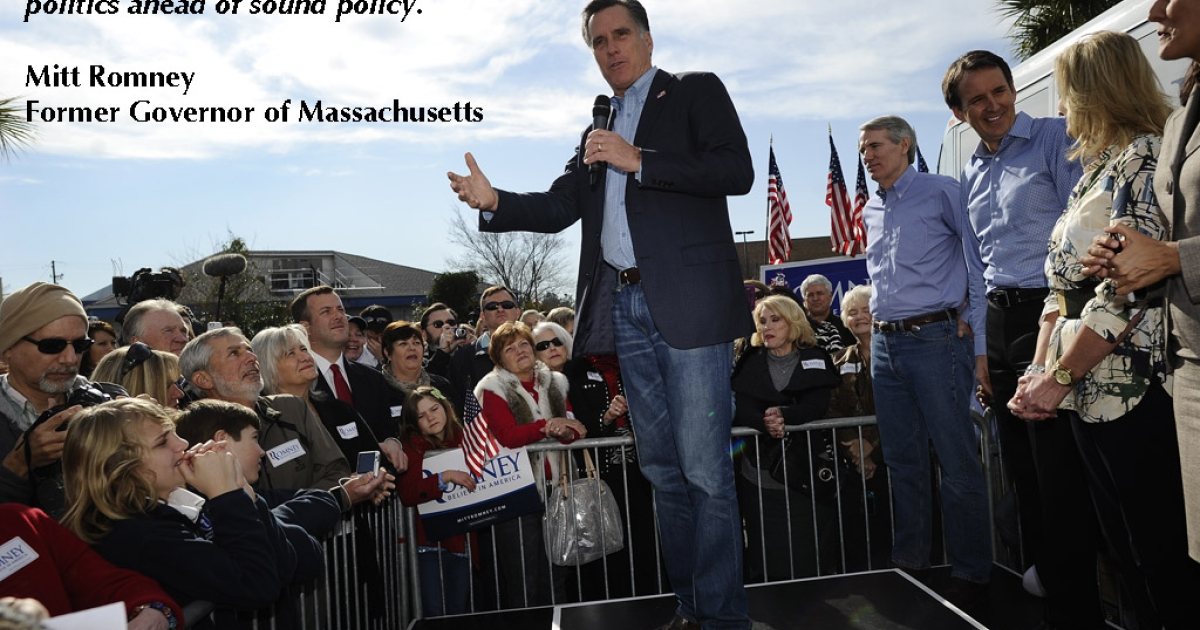 Republican presidential hopeful Mitt Romney addresses supporters while visiting his campaign headquarters in Charleston, South Carolina, January 19, 2012. South Carolina will hold its Republican primary on January 21, 2012.  </p> Quote taken from Mittromney.com</p>