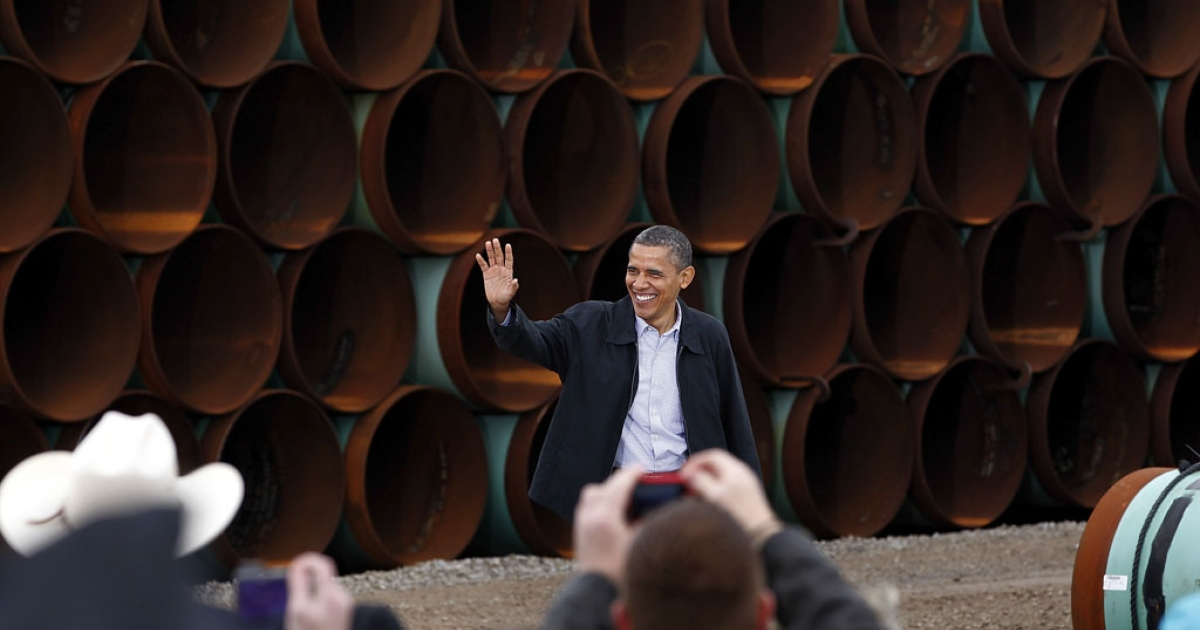 President Barack Obama arrives at the southern site of the Keystone XL pipeline on March 22, 2012, in Cushing, Okla. Obama is pressing federal agencies to expedite the section of the Keystone XL pipeline between Oklahoma and the Gulf Coast.</p>