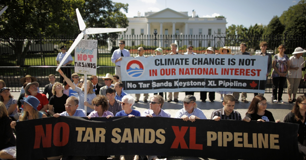 Keystone XL pipeline protesters in front of the White House in Washington, DC.</p>
