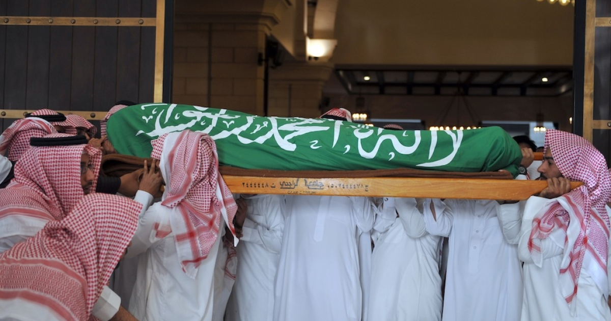 Relatives and friends of Saudi diplomat Khalaf Ali, the second secretary at the Saudi Arabian embassy in Bangladesh, carry his body during his funeral in Riyadh, on March 9, 2012.</p>