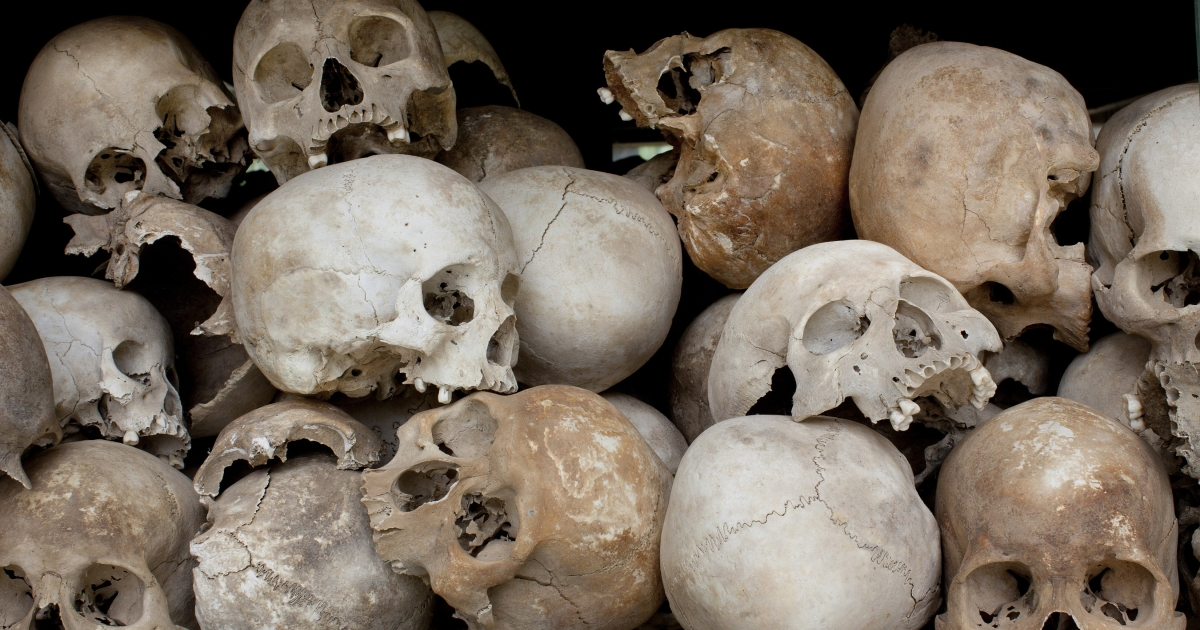 Some of the 8,000 human skulls that are displayed at the Choeung Ek Genocidal Center in Cambodia. The four top surviving leaders of the Khmer Rouge regime went on trial before a U.N.-backed court for the first time on Monday, three decades after the brutal revolution left an estimated 1.7 million people dead.</p>