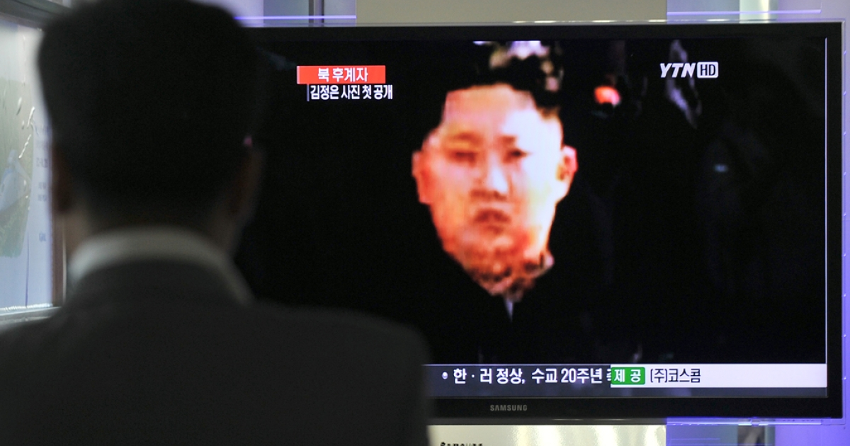 Kim Jong-un, who is pictured on a television screen, has a popular hairstyle that is said to resemble that of his late grandfather, Kim Il-sung.</p>