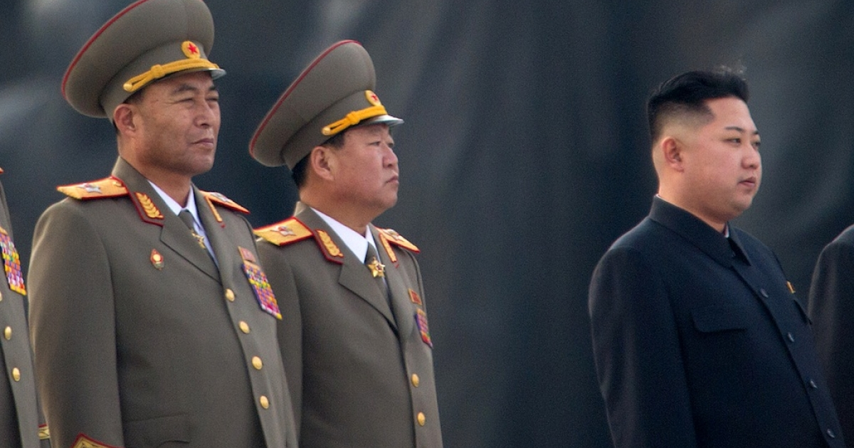 This photo taken on April 13, 2012 shows North Korean military chief Ri Yong-Ho (L) and North Korean leader Kin Jong-Un (R) at a ceremony in Pyongyang. North Korea's army chief Ri Yong-Ho has been relieved of all his posts due to illness, state media said on July 16, 2012, in a surprise development that removes one of new leader Kim Jong-Un's inner circle.</p>