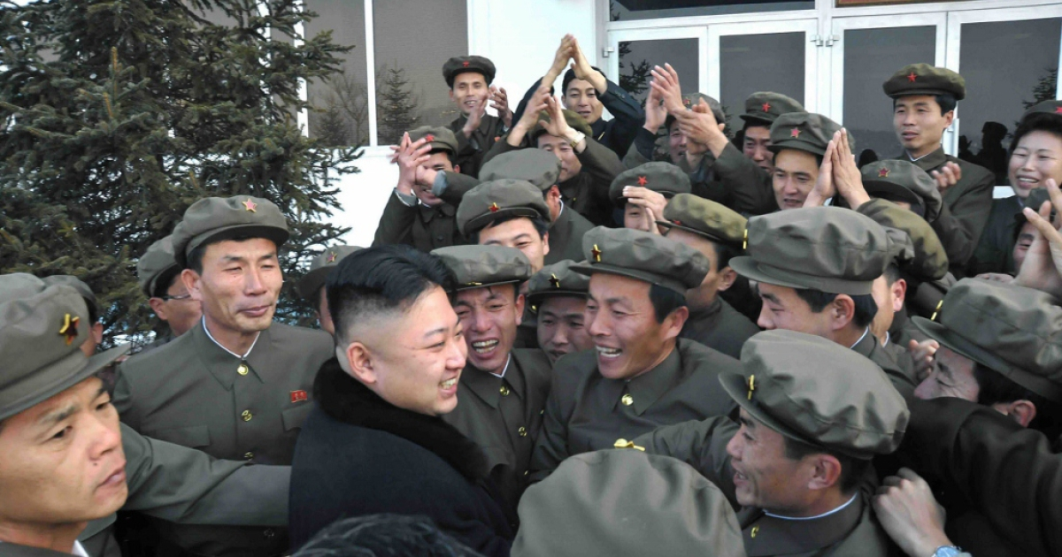 North Korean leader Kim Jong-Un celebrates a rocket launch  Dec. 12, 2012 in North Korea. The North Korean nuclear and rocket programs have long overshadowed its abysmal human rights record.</p>