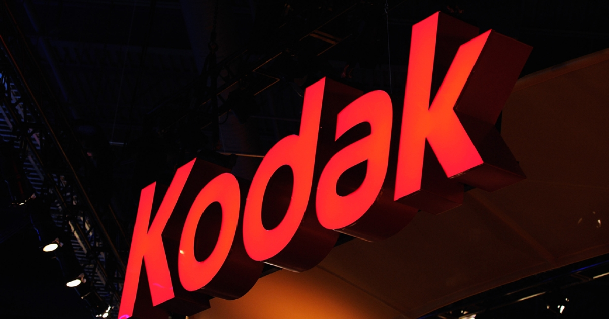A sign is lit at the Kodak booth at the 2012 International Consumer Electronics Show at the Las Vegas Convention Center January 10, 2012 in Las Vegas, Nevada. Eastman Kodak sued Apple Inc. and HTC Corp. on January 10, claiming infringement of technology. Apple had in turn attempted to sue Kodak, which filed for bankruptcy January 19.</p>