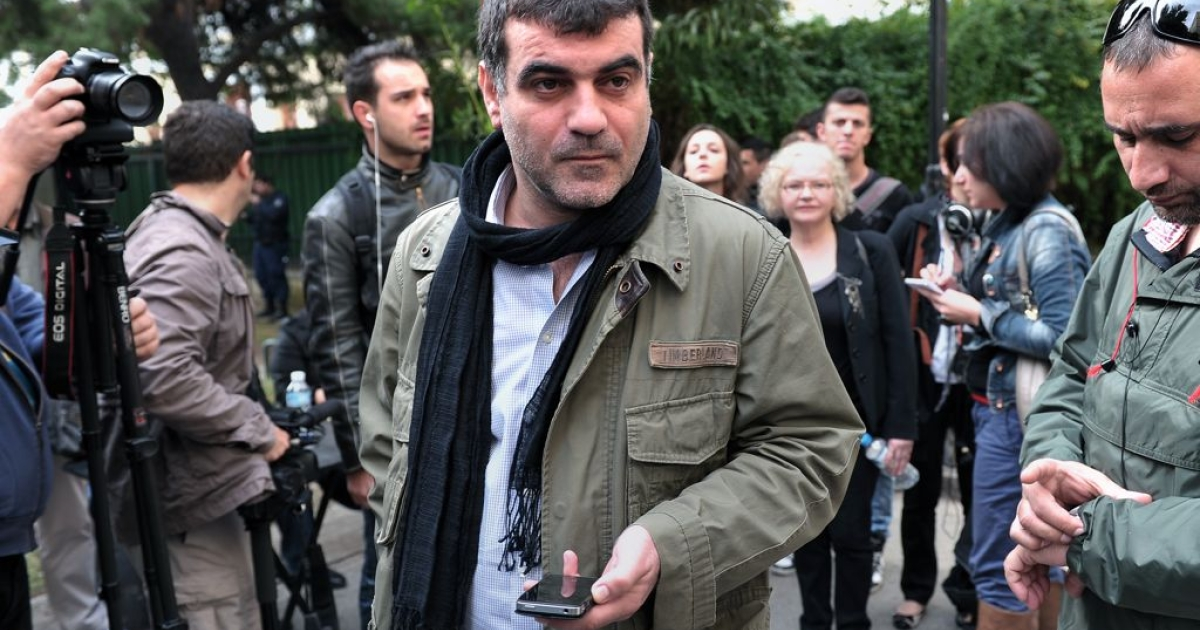 Kostas Vaxevanis outside the courtroom in Athens, Greece, on Nov. 1, 2012. The investigative reporter is on trial for publishing a list of Greeks who allegedly keep money in Swiss bank accounts.</p>