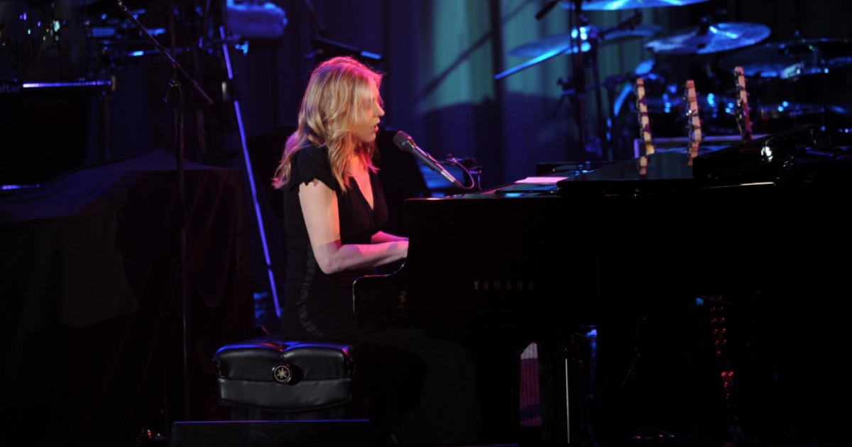 Singer Diana Krall performs onstage at Clive Davis and the Recording Academy's 2012 Pre-GRAMMY Gala and Salute to Industry Icons Honoring Richard Branson held at The Beverly Hilton Hotel on February 11, 2012 in Beverly Hills, California.</p>