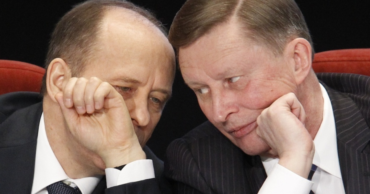 Kremlin Chief of Staff Sergei Ivanov (R) listens to Director of the Federal Security Service (FSB) Alexander Bortnikov during a meeting, held by the Russian Interior Ministry board, in Moscow, on Feb. 10, 2012.</p>