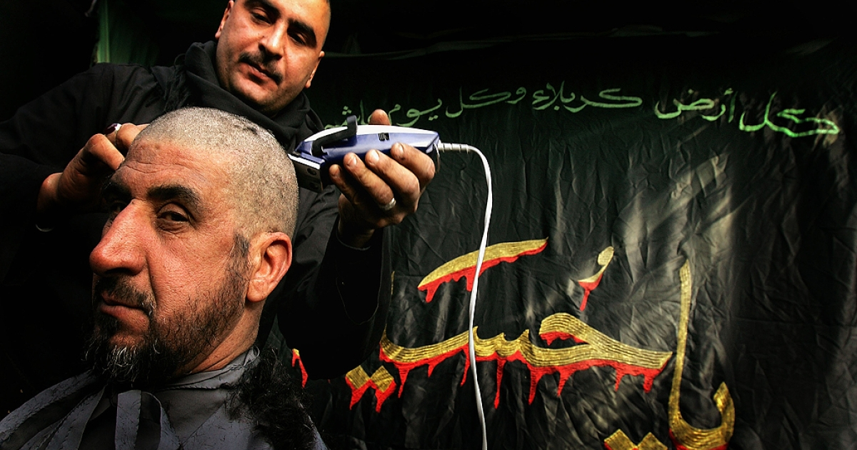 An Iraqi barber shaves the head of a Shiite worshipper before flagellation on January 18, 2008 in the holy Shiite city of Karbala about 70 miles south of Baghdad, Iraq.  On Saturday, Kuwaiti police shaved the heads of nine men accused of teasing young women at a shopping mall, according to Kuwait's Arab Times, an English-language newspaper.</p>