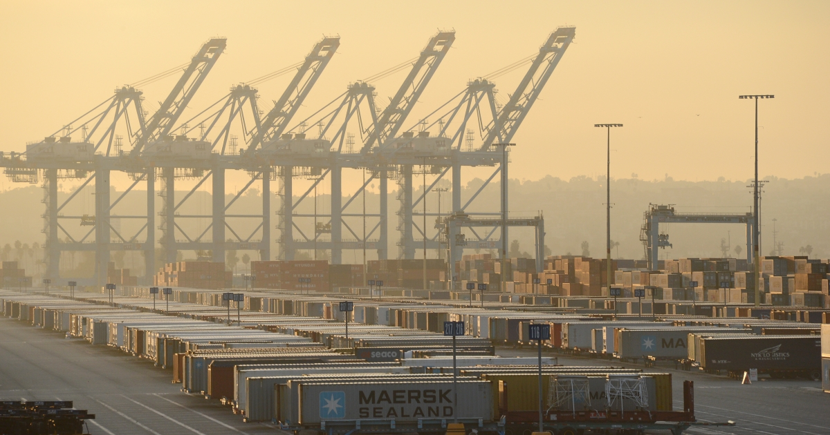 The Los Angeles port sits idle during a strike on Dec. 12, 2012.</p>