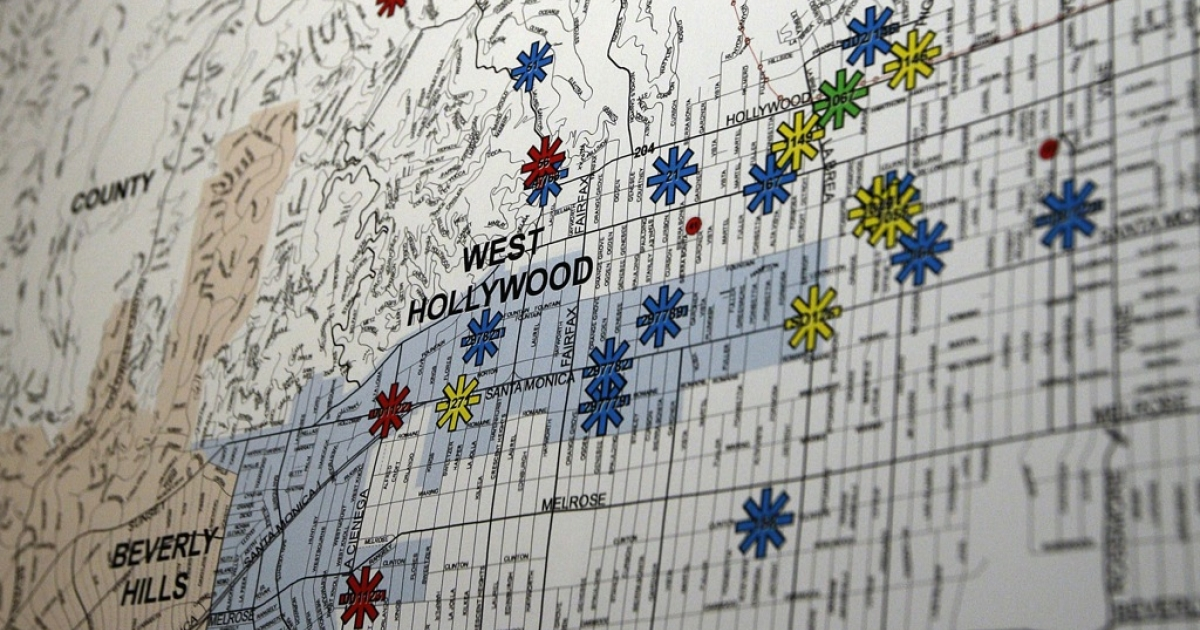 A map displayed at a press conference shows the locations of dozens of arson fires that were set over the weekend, on Jan. 2, 2012 in Los Angeles, California.</p>